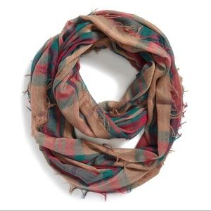 BP featherweight autumn-toned plaid infinity scarf